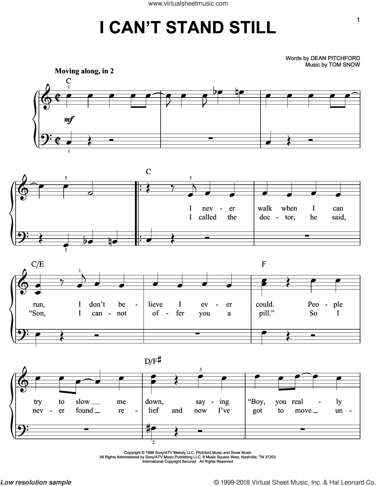I Can't Stand Still sheet music for piano solo by Dean Pitchford and Tom Snow. Score Image Preview.