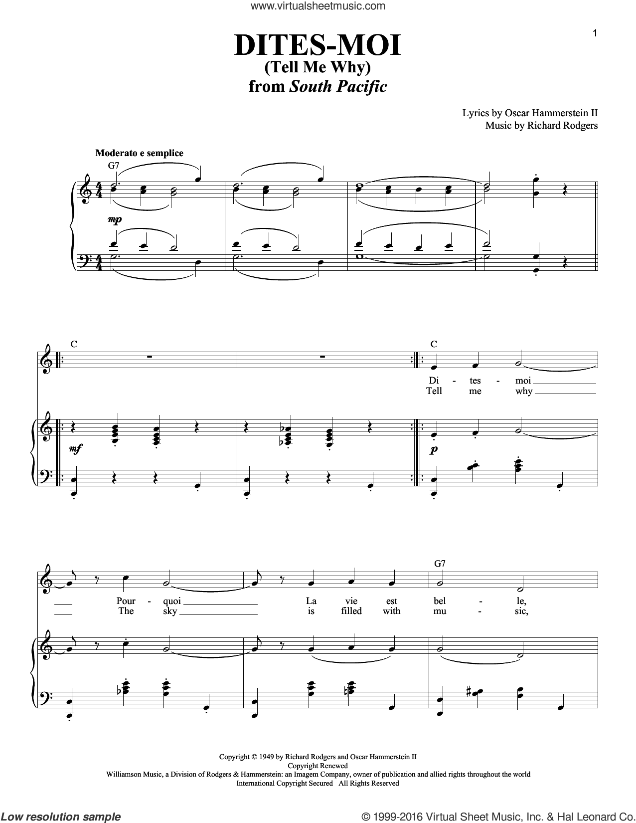 Dites-Moi (Tell Me Why) sheet music for voice and piano by Rodgers & Hammerstein, South Pacific (Musical), Oscar II Hammerstein and Richard Rodgers, intermediate skill level