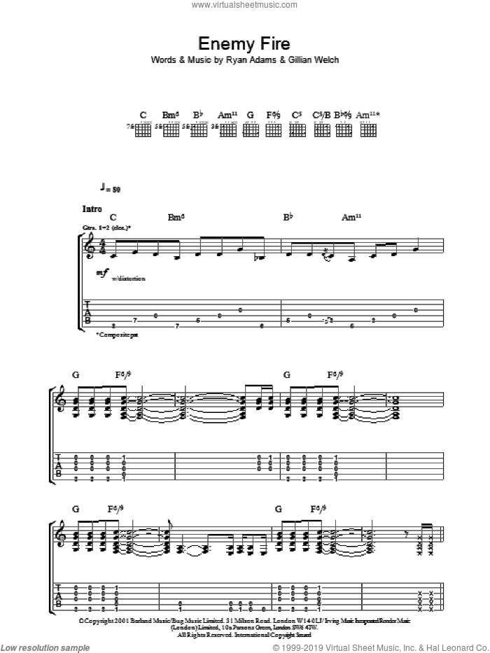 Enemy Fire sheet music for guitar (tablature) by Ryan Adams and Gillian Welch, intermediate guitar (tablature). Score Image Preview.