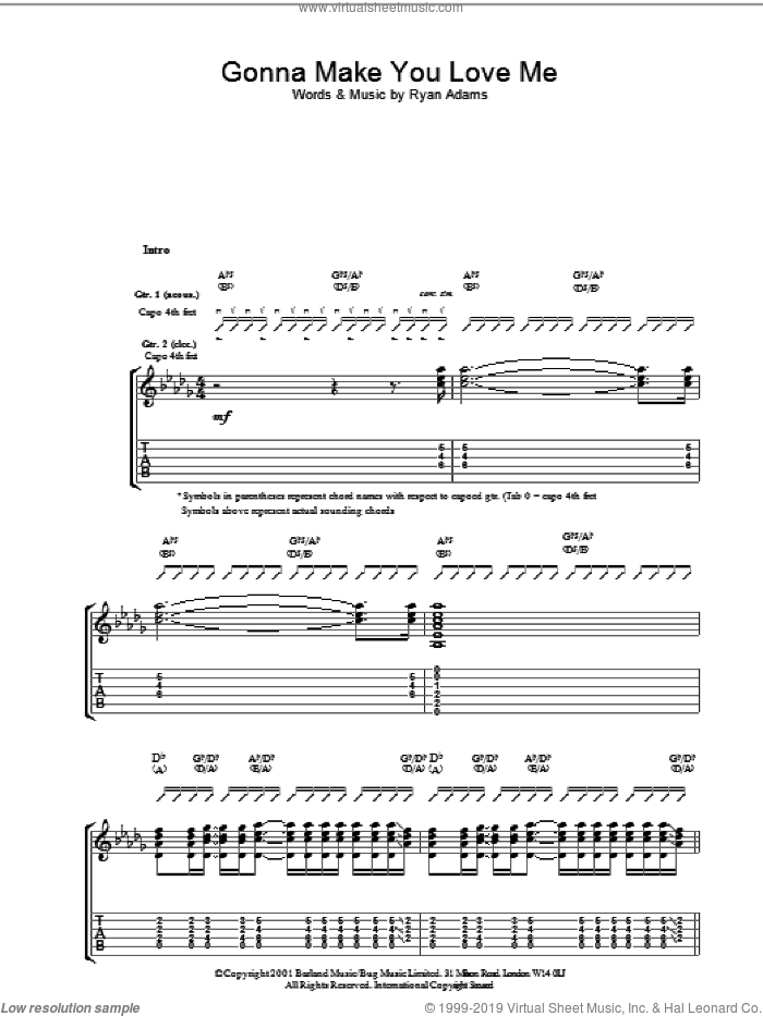 Gonna Make You Love Me sheet music for guitar (tablature) by Ryan Adams