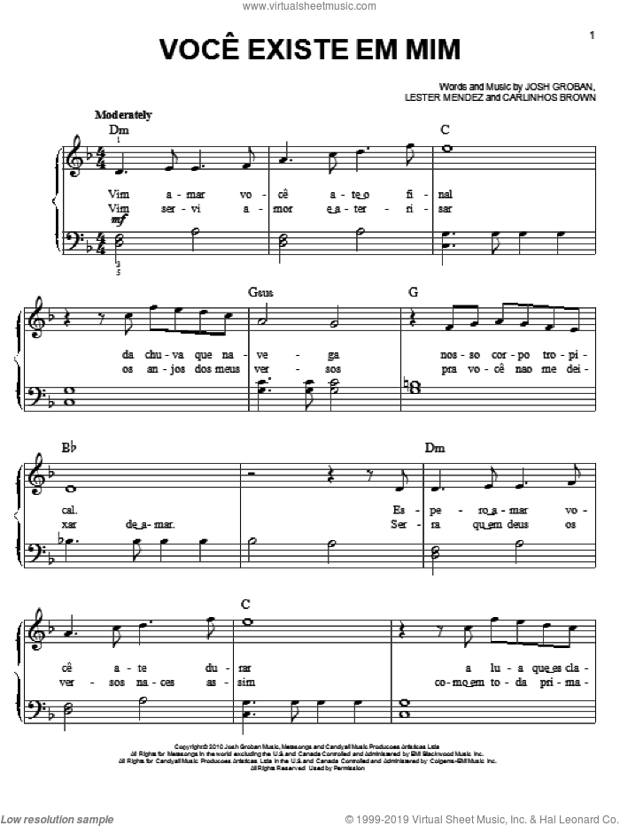 Voce Existe Em Mim sheet music for piano solo by Lester Mendez and Josh Groban. Score Image Preview.