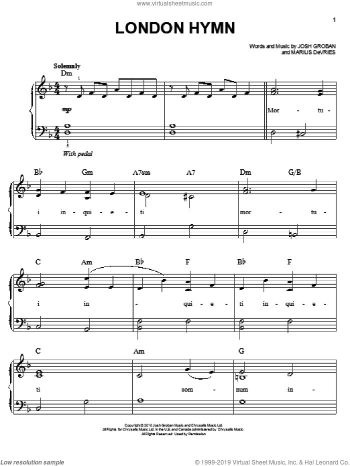 London Hymn sheet music for piano solo by Josh Groban and Marius De Vries, easy skill level