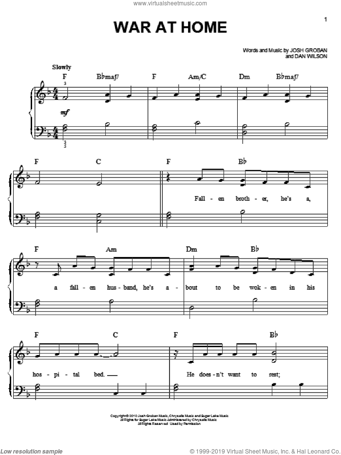 War At Home sheet music for piano solo by Josh Groban and Dan Wilson, easy skill level