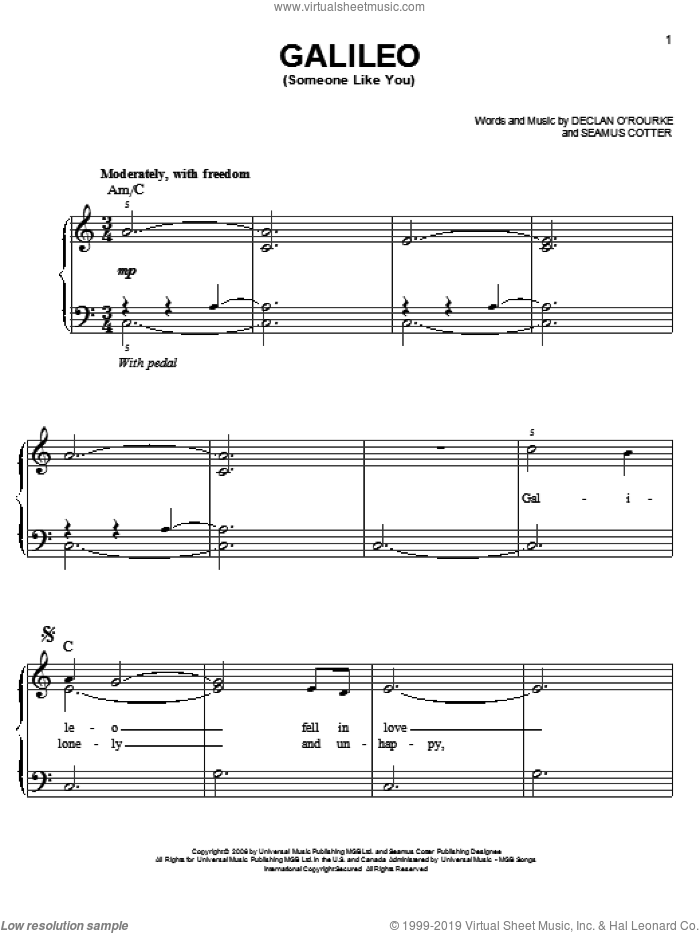 Galileo (Someone Like You) sheet music for piano solo by Josh Groban and Seamus Cotter, easy skill level