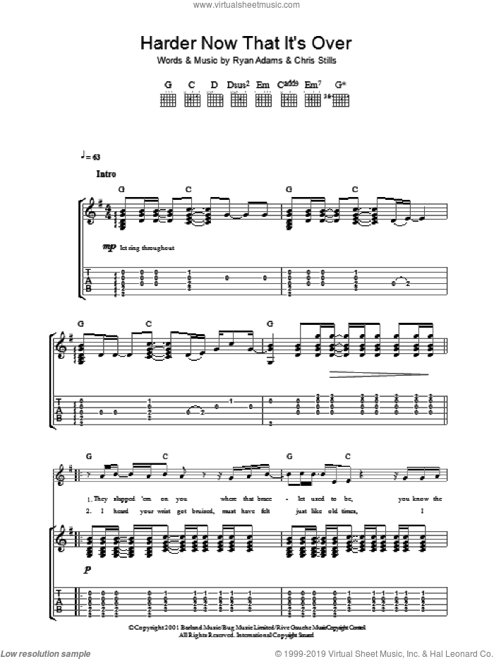 Harder Now That It's Over sheet music for guitar (tablature) by Chris Stills