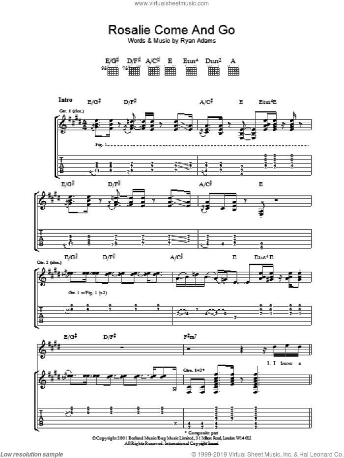 Rosalie Come And Go sheet music for guitar (tablature) by Ryan Adams. Score Image Preview.