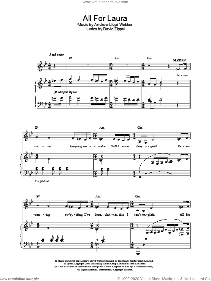 All For Laura sheet music for voice, piano or guitar by David Zippel and Andrew Lloyd Webber. Score Image Preview.