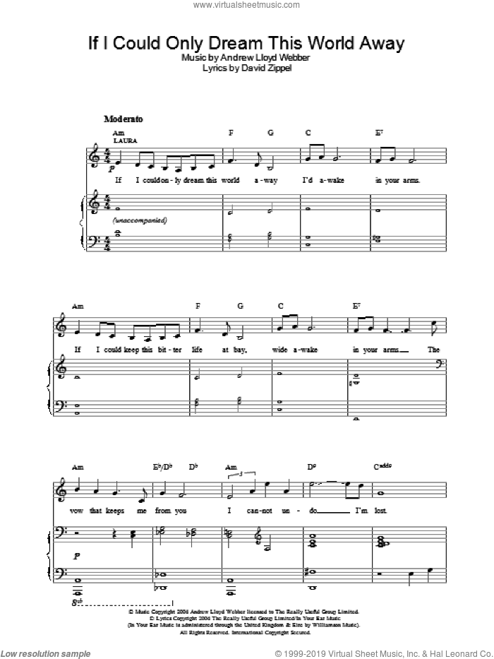 If I Could Only Dream This World Away sheet music for voice, piano or guitar by David Zippel and Andrew Lloyd Webber. Score Image Preview.