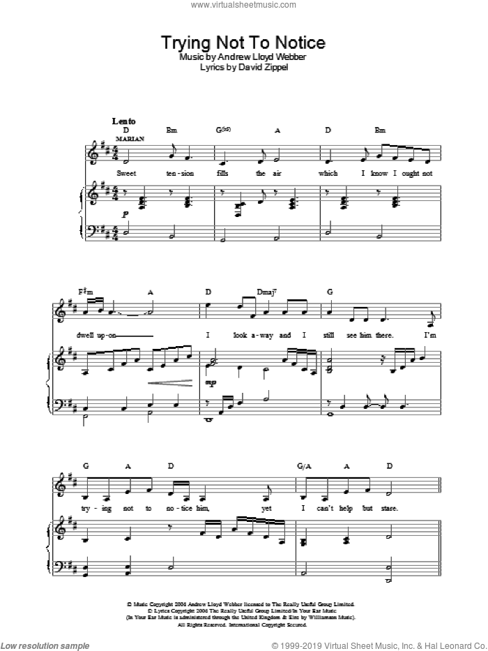 Trying Not To Notice sheet music for voice, piano or guitar by Andrew Lloyd Webber and David Zippel, intermediate. Score Image Preview.