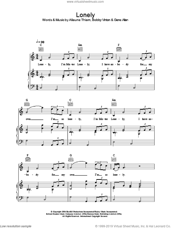Lonely sheet music for voice, piano or guitar by Akon and Bobby Vinton, intermediate. Score Image Preview.