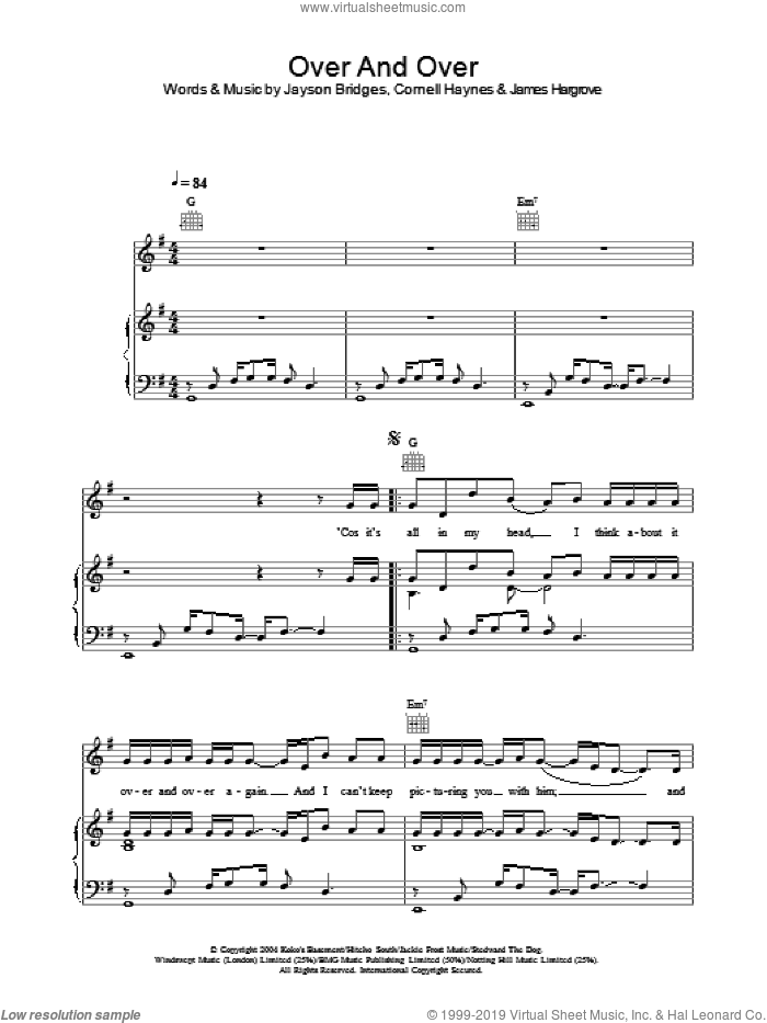 Over And Over sheet music for voice, piano or guitar by Jayson Bridges and Cornell Haynes. Score Image Preview.
