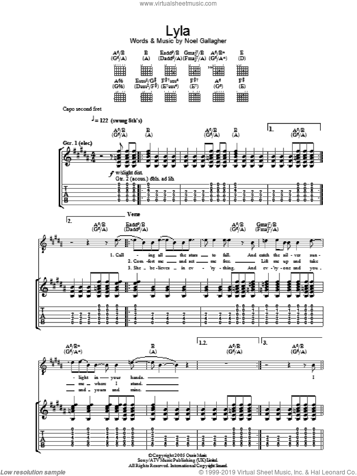 Lyla sheet music for guitar (tablature) by Oasis and Noel Gallagher, intermediate