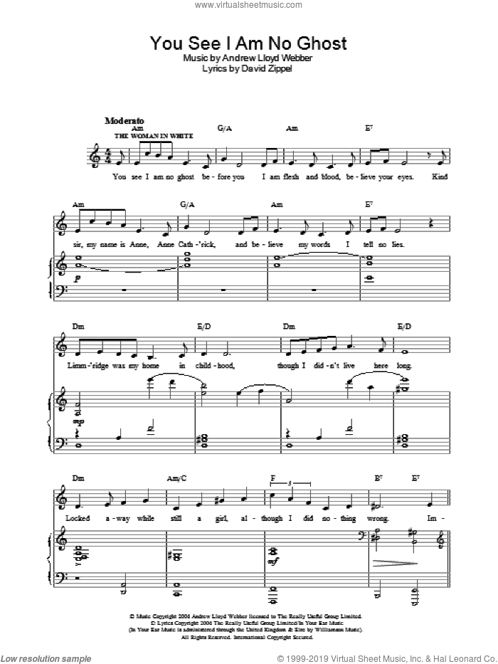 You See I Am No Ghost sheet music for voice, piano or guitar by Andrew Lloyd Webber and David Zippel, intermediate voice, piano or guitar. Score Image Preview.