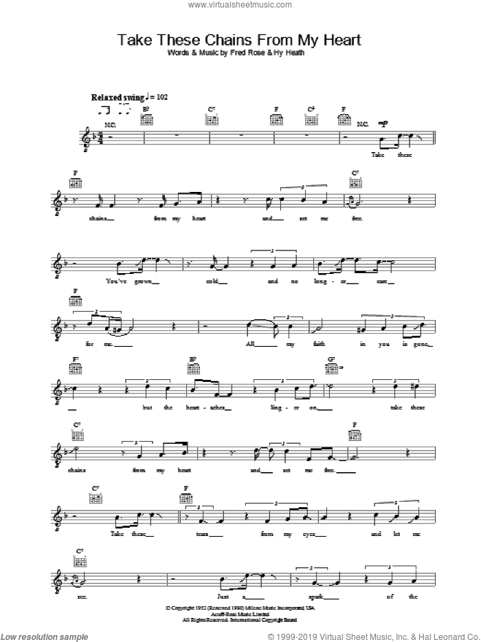 Take These Chains From My Heart sheet music for voice and other instruments (fake book) by Hank Williams, Fred Rose and Hy Heath, intermediate skill level