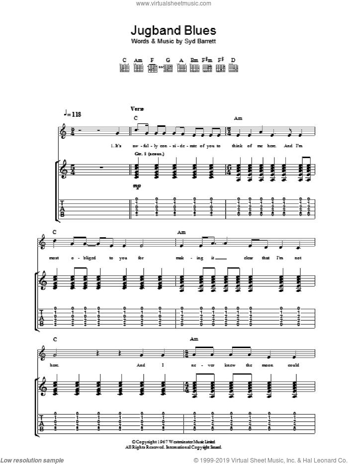 Jugband Blues sheet music for guitar (tablature) by Pink Floyd and Syd Barrett, intermediate skill level