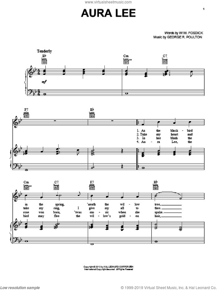 Aura Lee sheet music for voice, piano or guitar by George R. Poulton and W.W. Fosdick, intermediate skill level