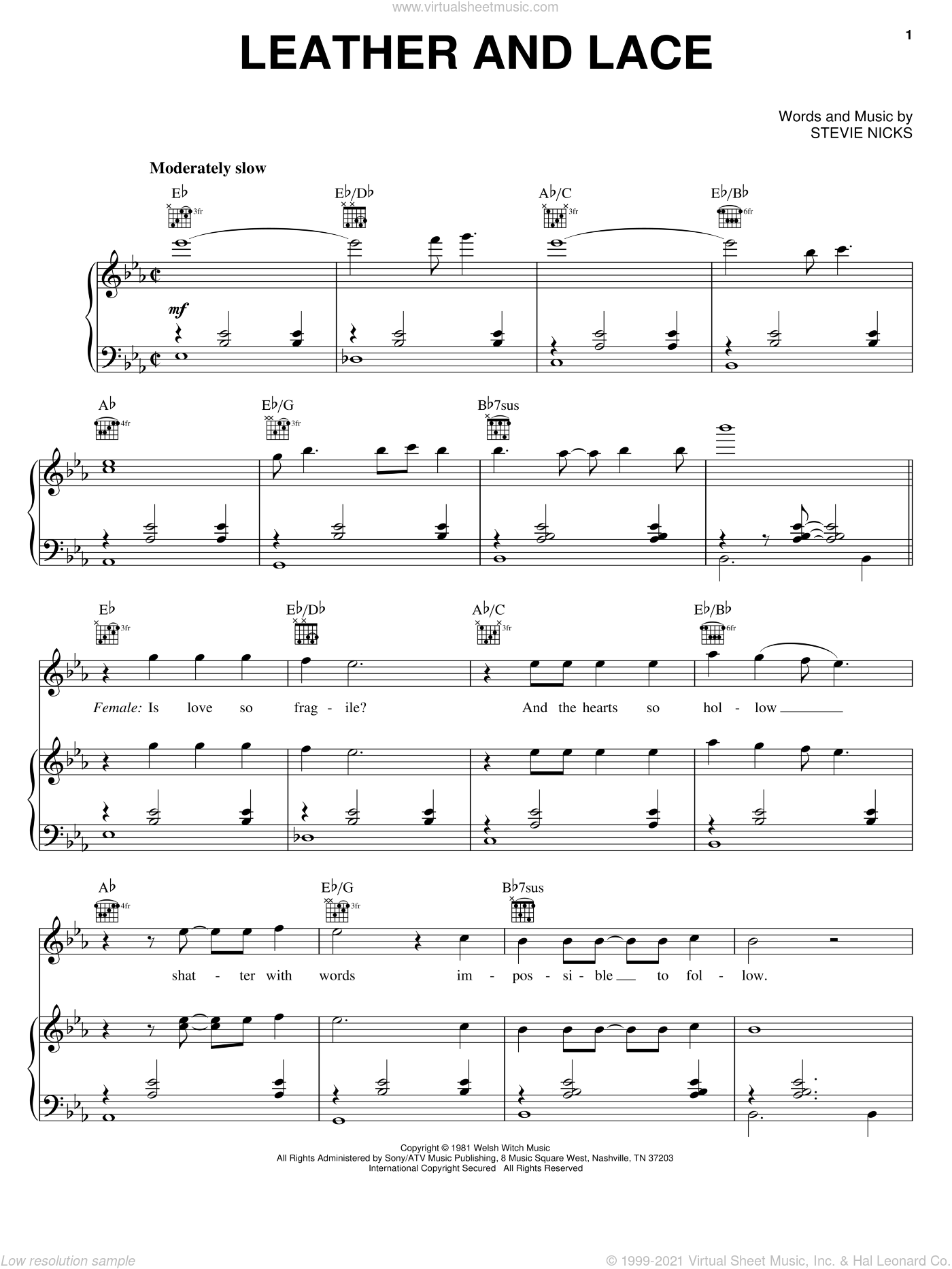 Leather And Lace sheet music for voice, piano or guitar by Stevie Nicks, intermediate skill level