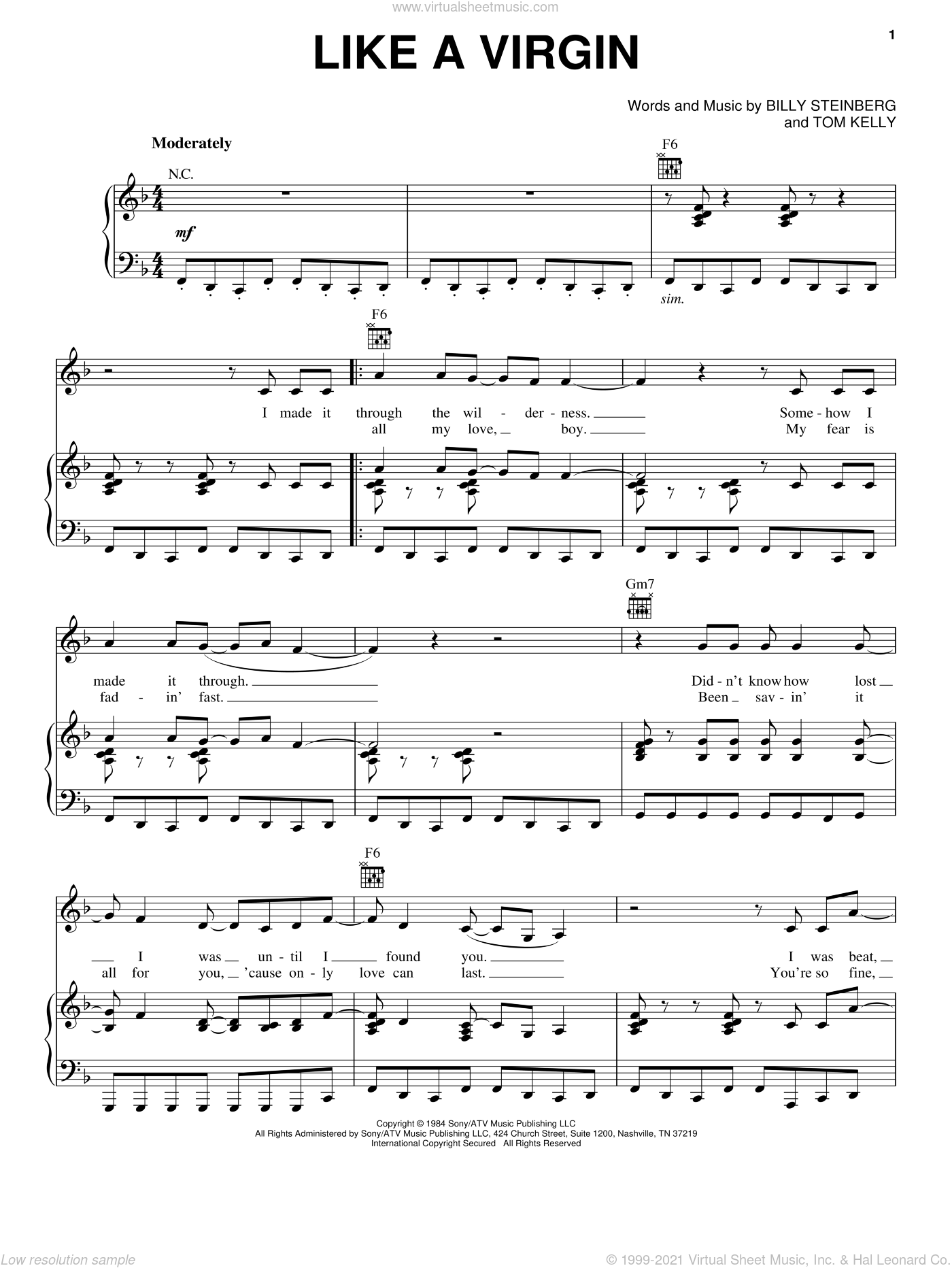 Like A Virgin sheet music for voice, piano or guitar by Madonna, Miscellaneous, Billy Steinberg and Tom Kelly, intermediate skill level