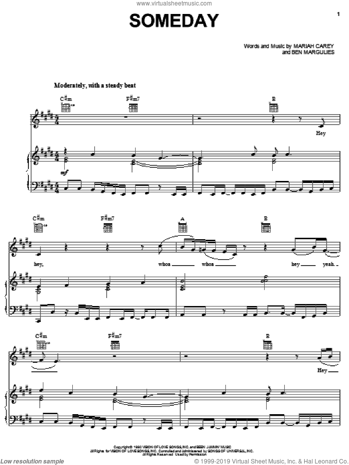 Someday sheet music for voice, piano or guitar by Mariah Carey and Ben Margulies, intermediate. Score Image Preview.