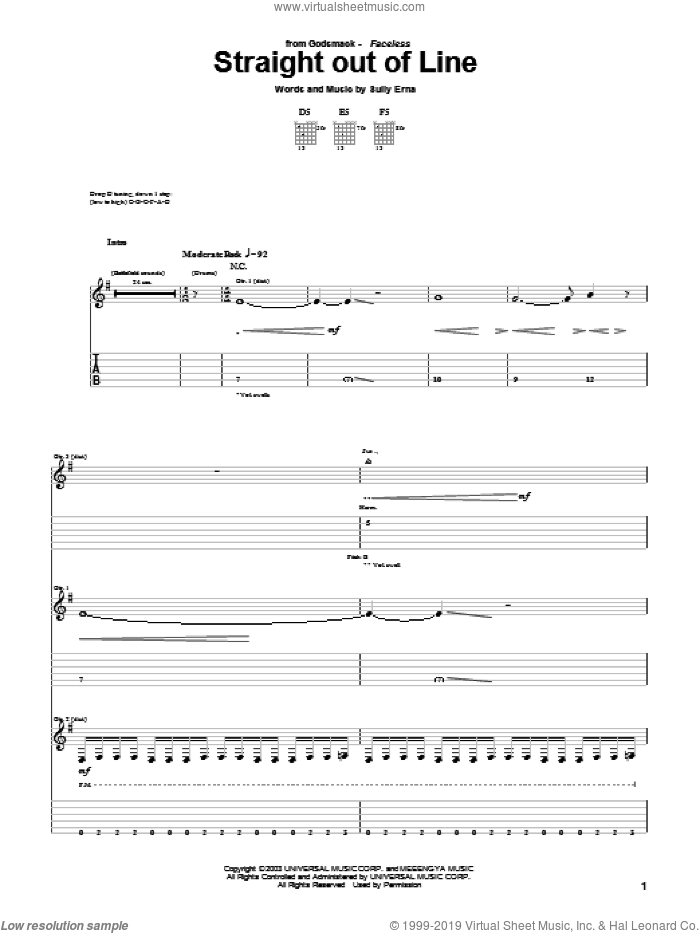 Straight Out Of Line sheet music for guitar (tablature) by Godsmack, intermediate guitar (tablature). Score Image Preview.