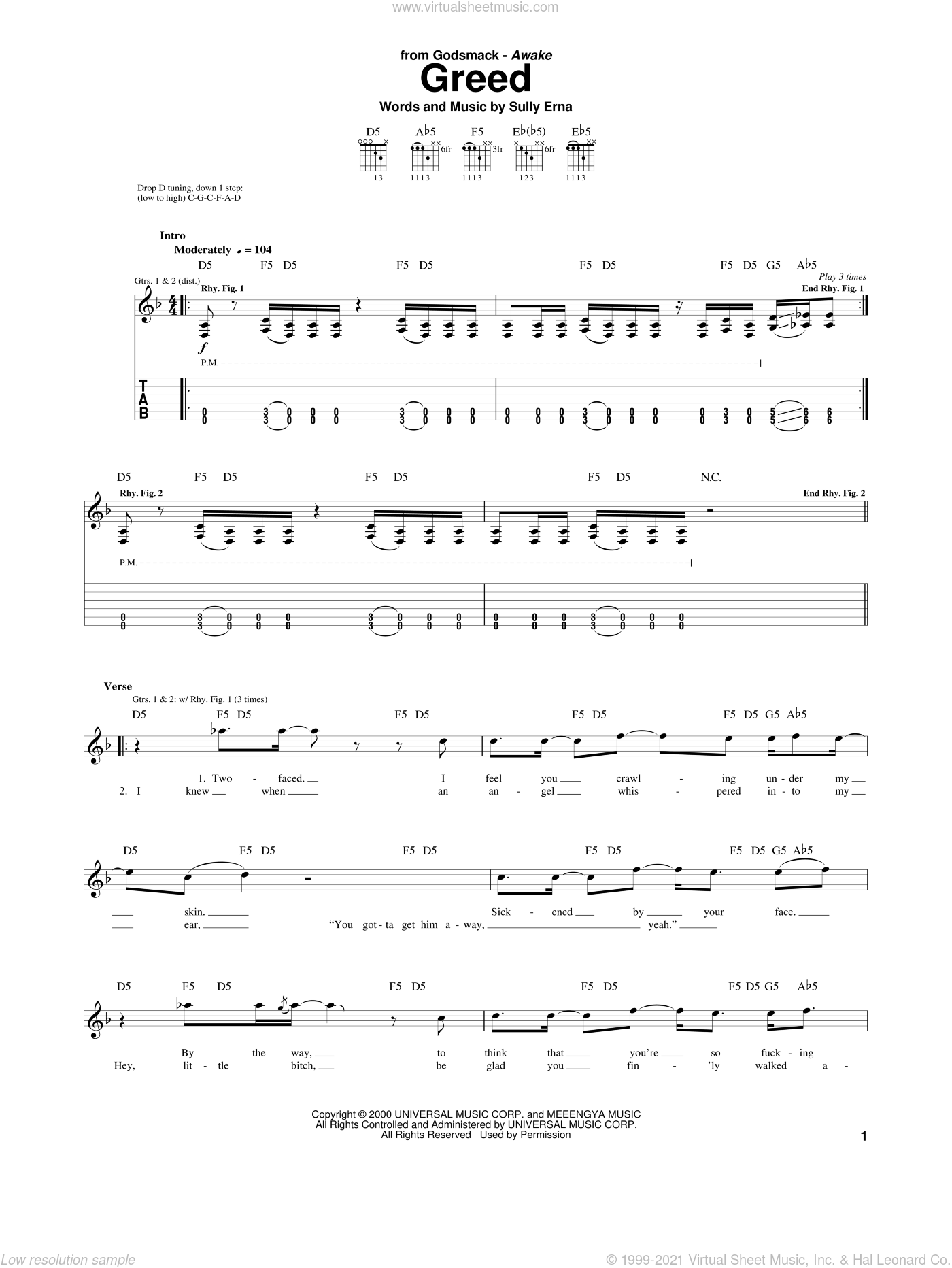 Greed sheet music for guitar (tablature) by Godsmack and Sully Erna, intermediate