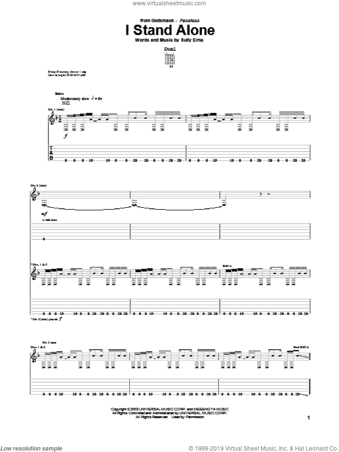 I Stand Alone sheet music for guitar (tablature) by Godsmack and Sully Erna, intermediate skill level