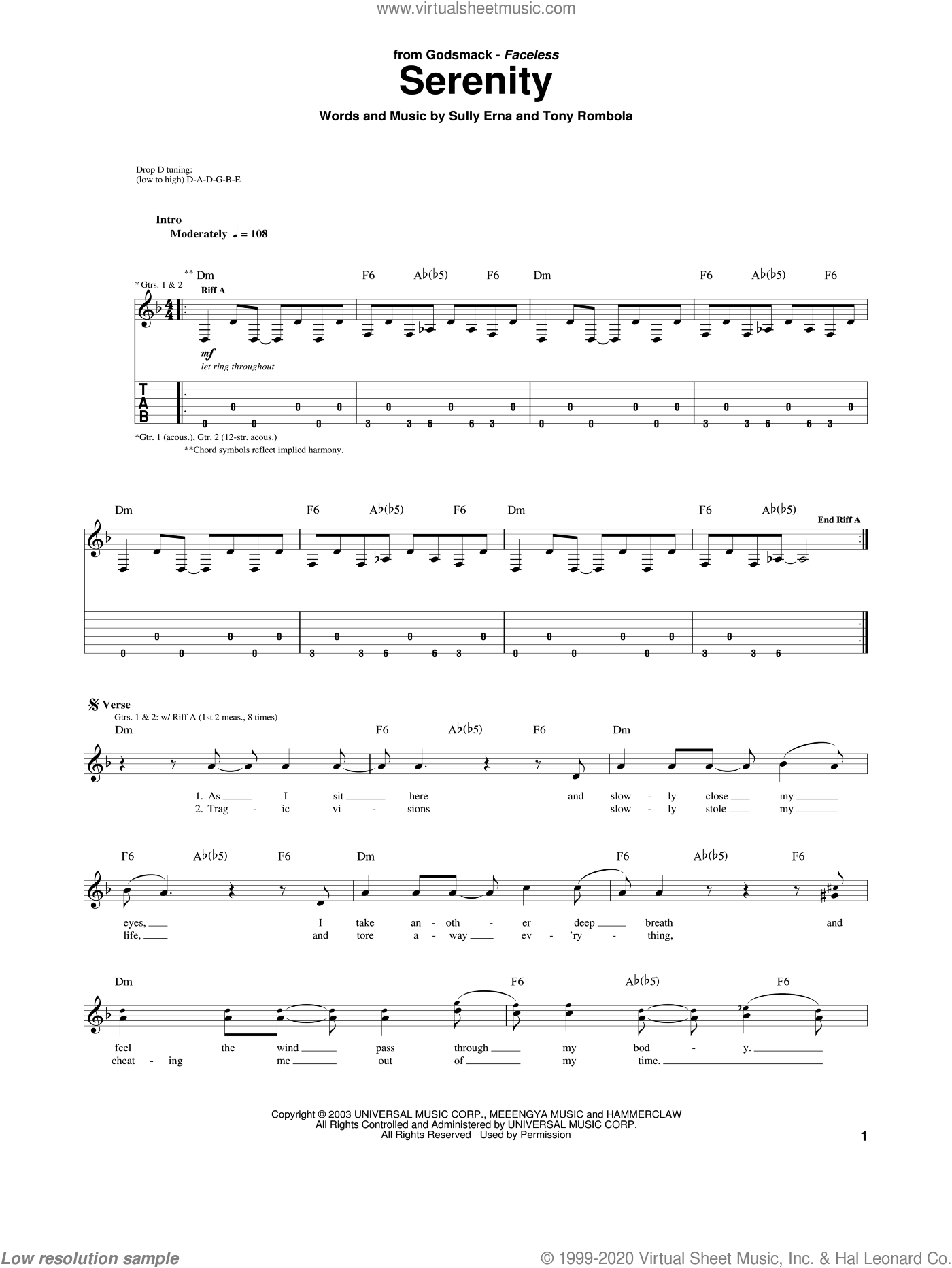 Serenity sheet music for guitar (tablature) by Godsmack, Sully Erna and Tony Rombola, intermediate skill level