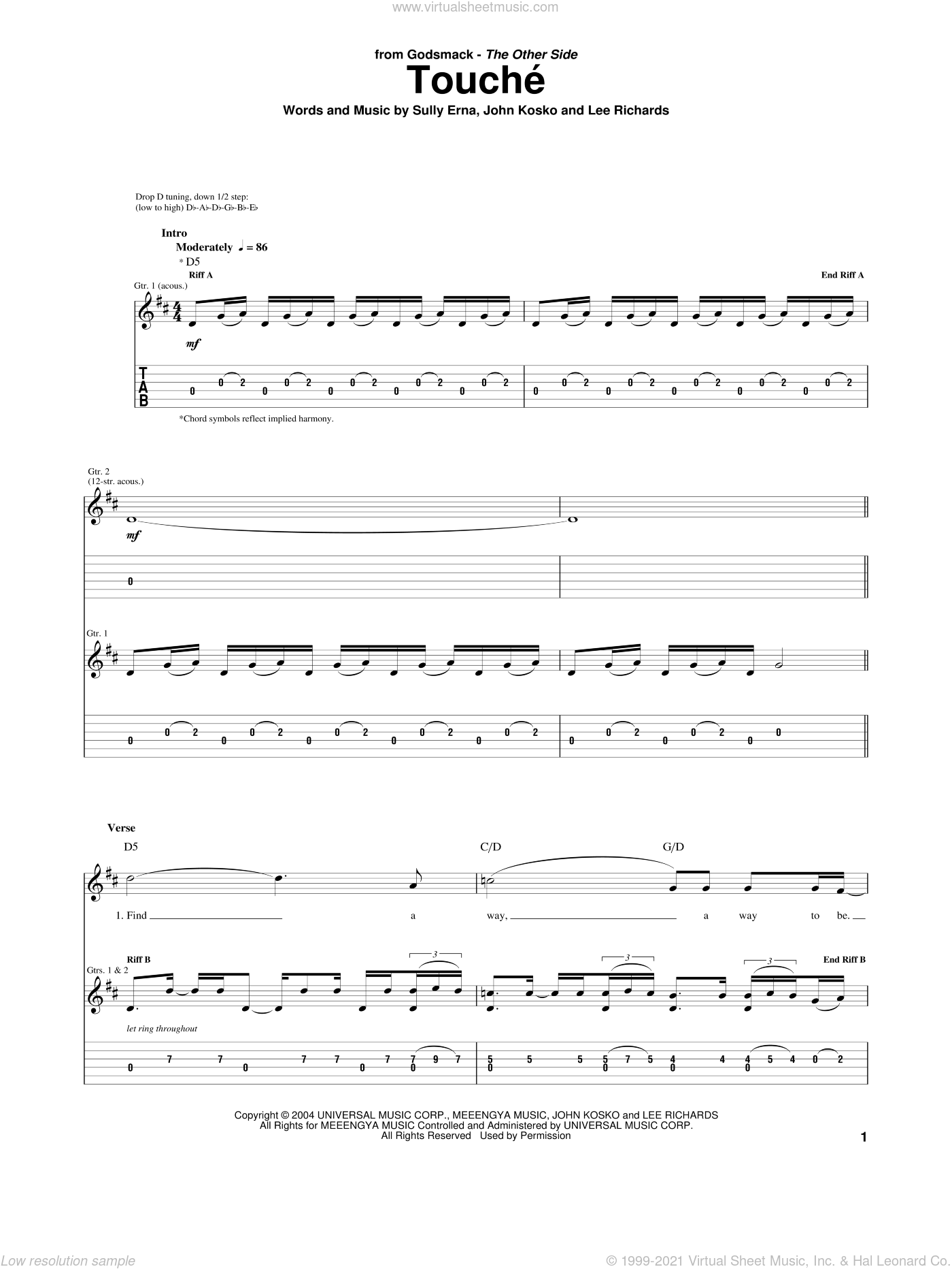 Touche sheet music for guitar (tablature) by Sully Erna. Score Image Preview.