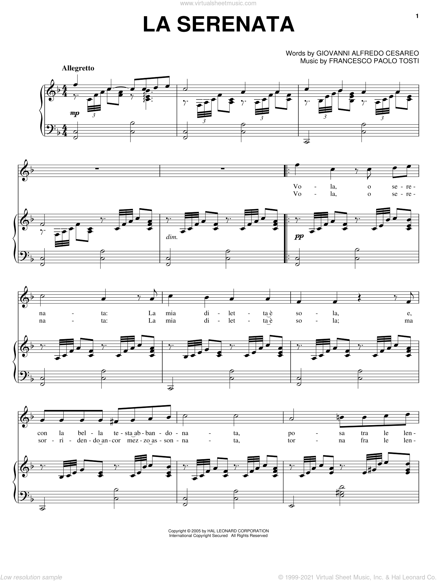 La Serenata sheet music for voice, piano or guitar by Giovanni Alfredo Cesareo
