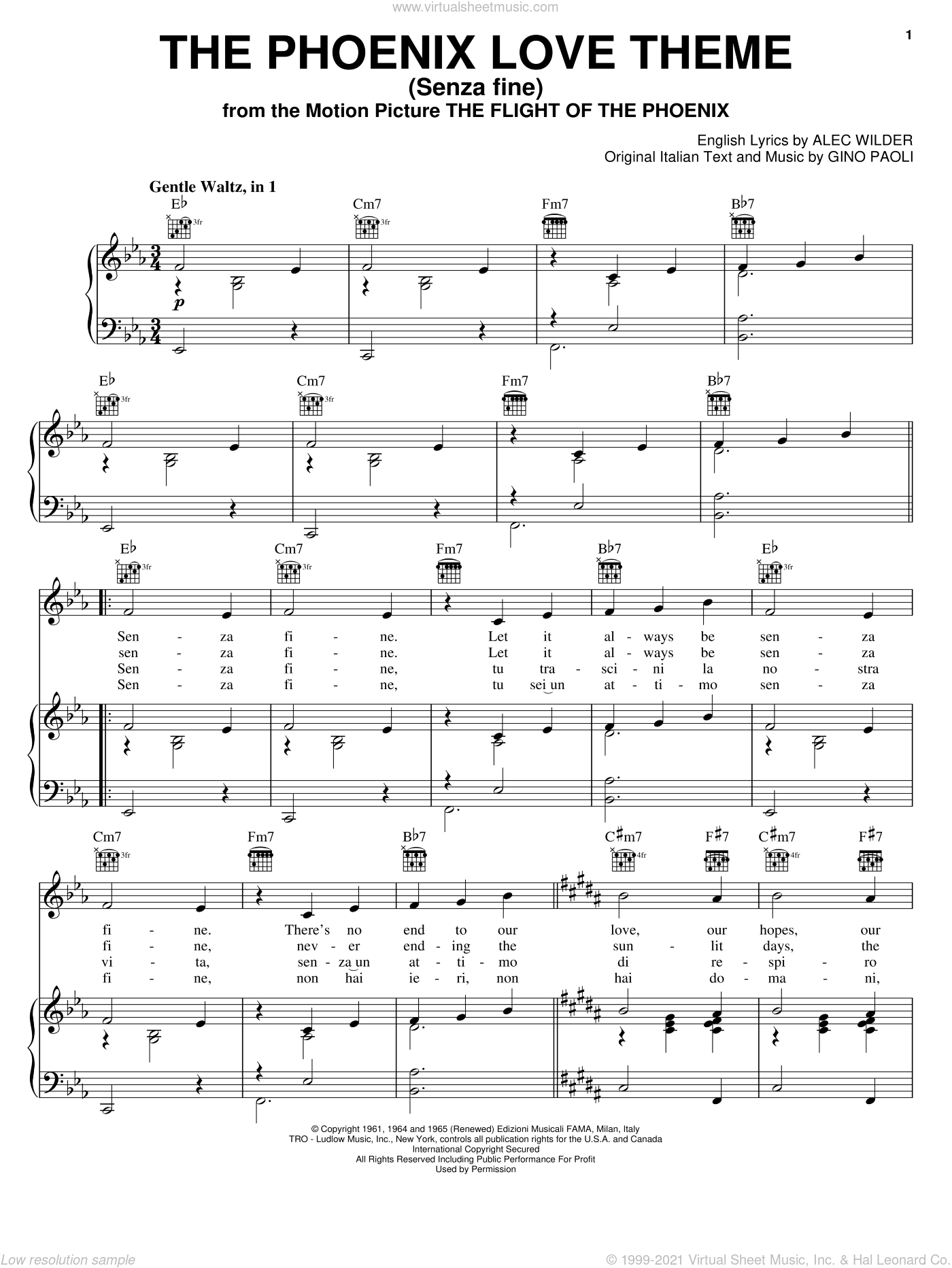 The Phoenix Love Theme (Senza Fine) sheet music for voice, piano or guitar by Alec Wilder and Gino Paoli. Score Image Preview.