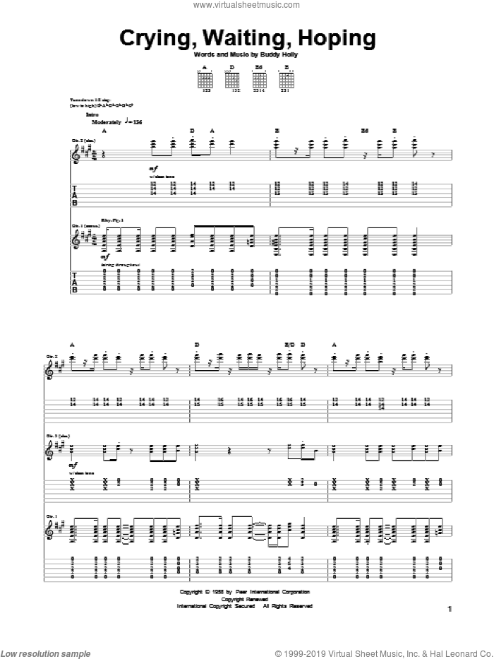 Crying, Waiting, Hoping sheet music for guitar (tablature) by Buddy Holly. Score Image Preview.