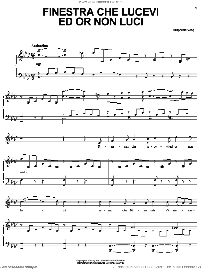 Finestra che lucevi ed or non luci sheet music for voice, piano or guitar, classical score, intermediate skill level