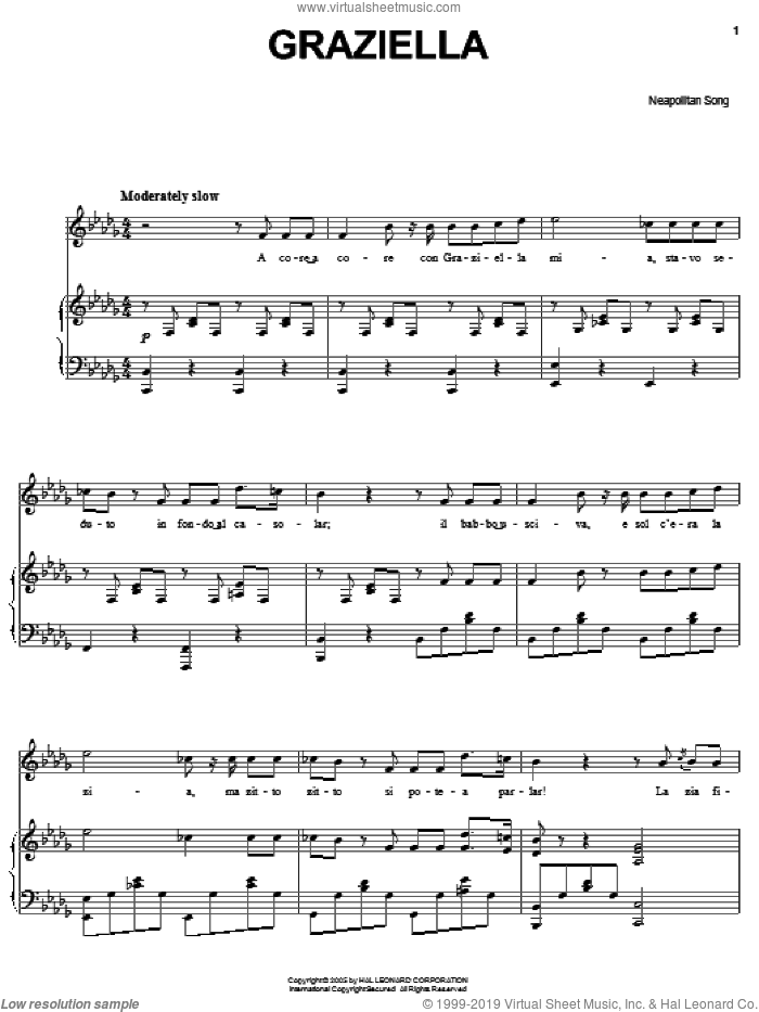Graziella sheet music for voice, piano or guitar. Score Image Preview.