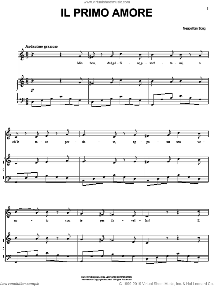 Il primo amore sheet music for voice, piano or guitar, intermediate. Score Image Preview.