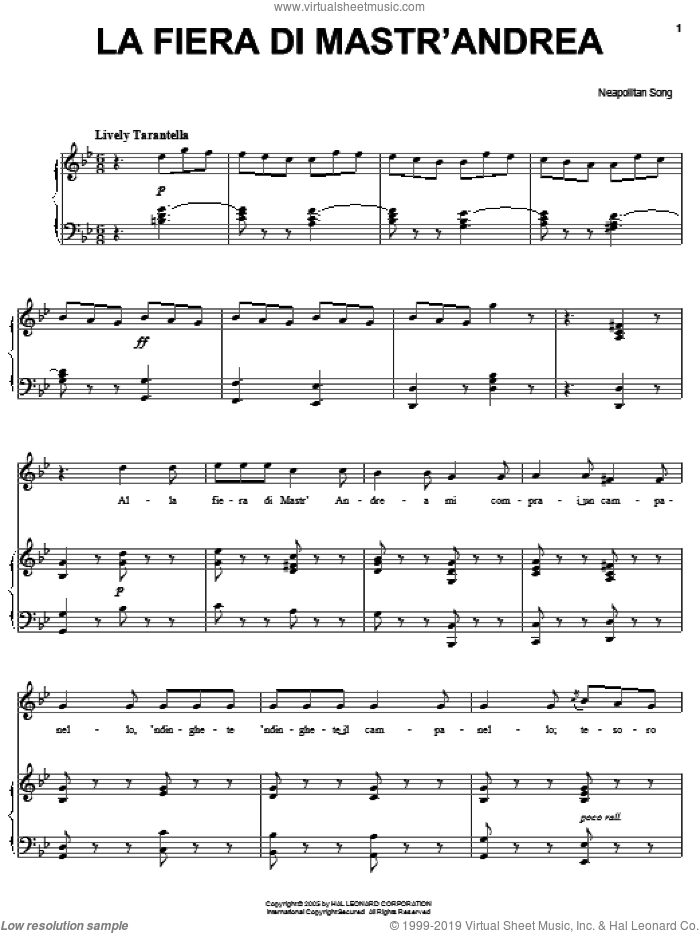 La fiera di Mastr'Andrea sheet music for voice, piano or guitar. Score Image Preview.