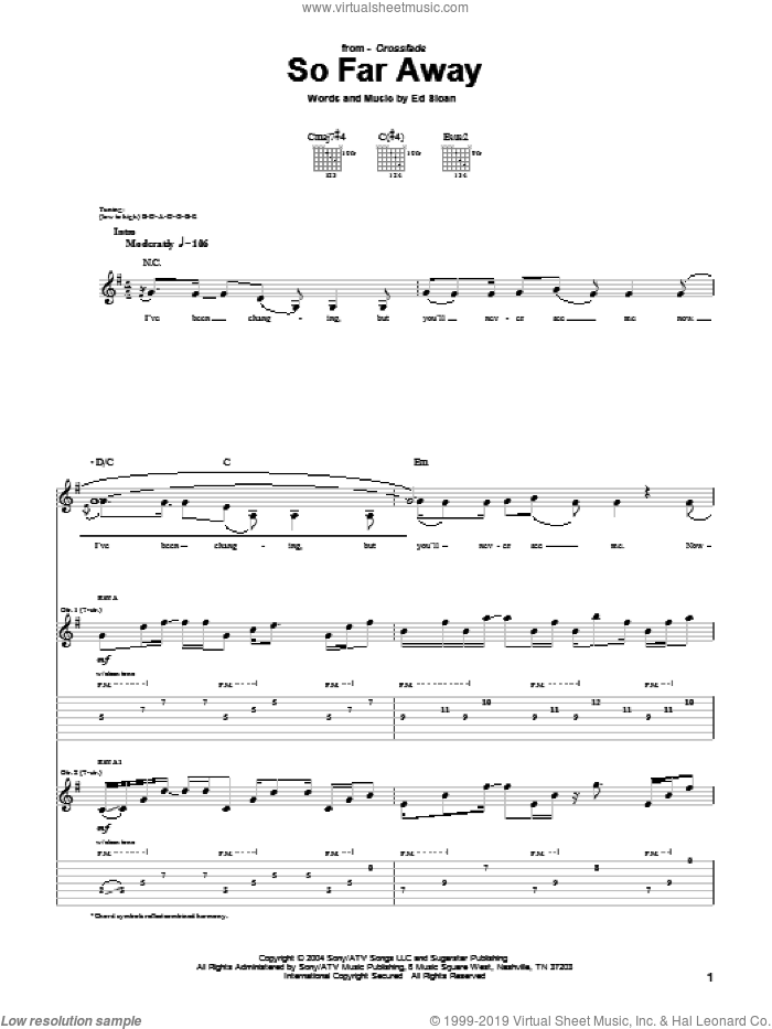 So Far Away sheet music for guitar (tablature) by Ed Sloan. Score Image Preview.