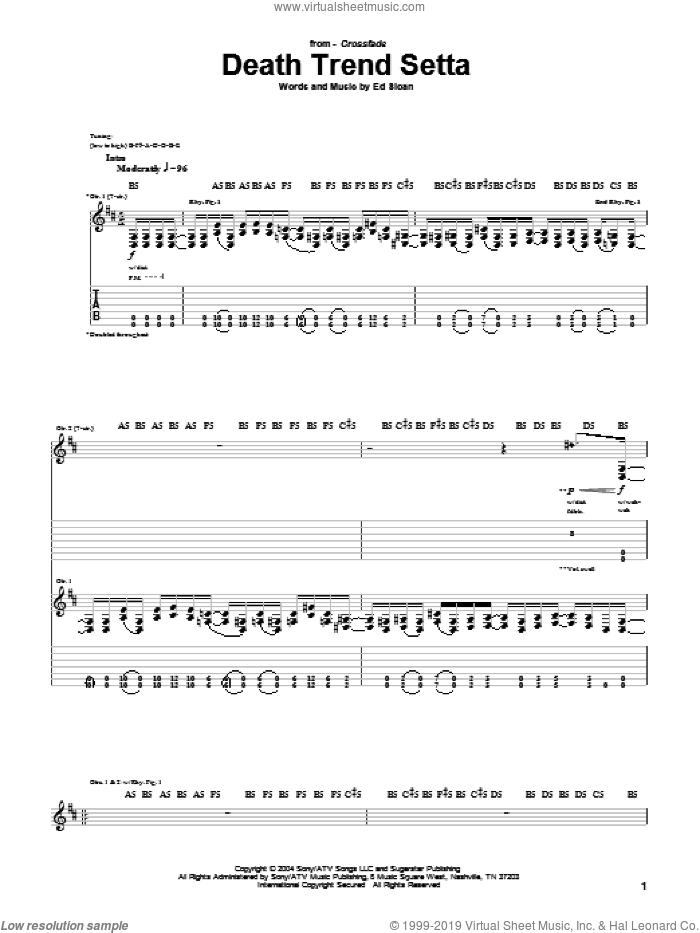 Death Trend Setta sheet music for guitar (tablature) by Crossfade. Score Image Preview.