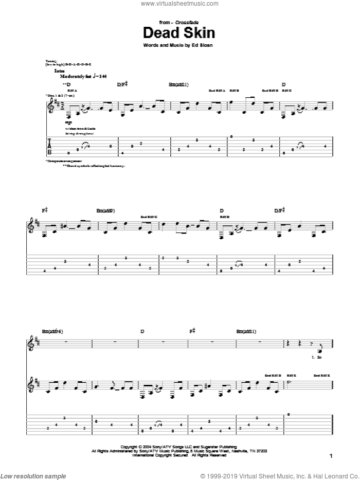 Dead Skin sheet music for guitar (tablature) by Ed Sloan