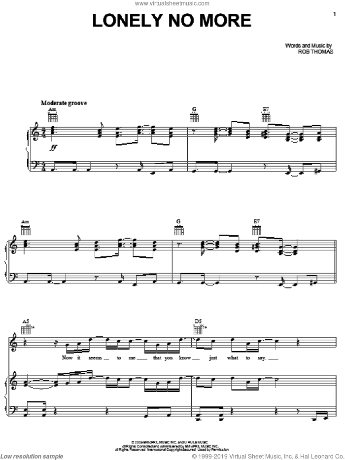 Lonely No More sheet music for voice, piano or guitar by Rob Thomas, intermediate. Score Image Preview.