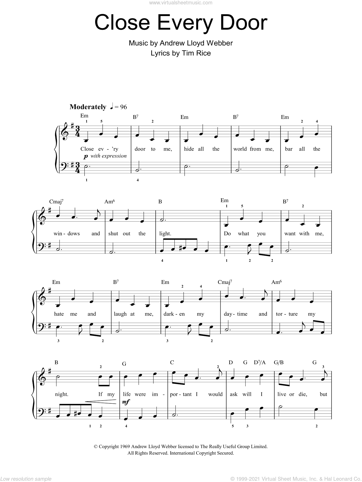 Close Every Door sheet music for piano solo by Andrew Lloyd Webber and Tim Rice, easy skill level