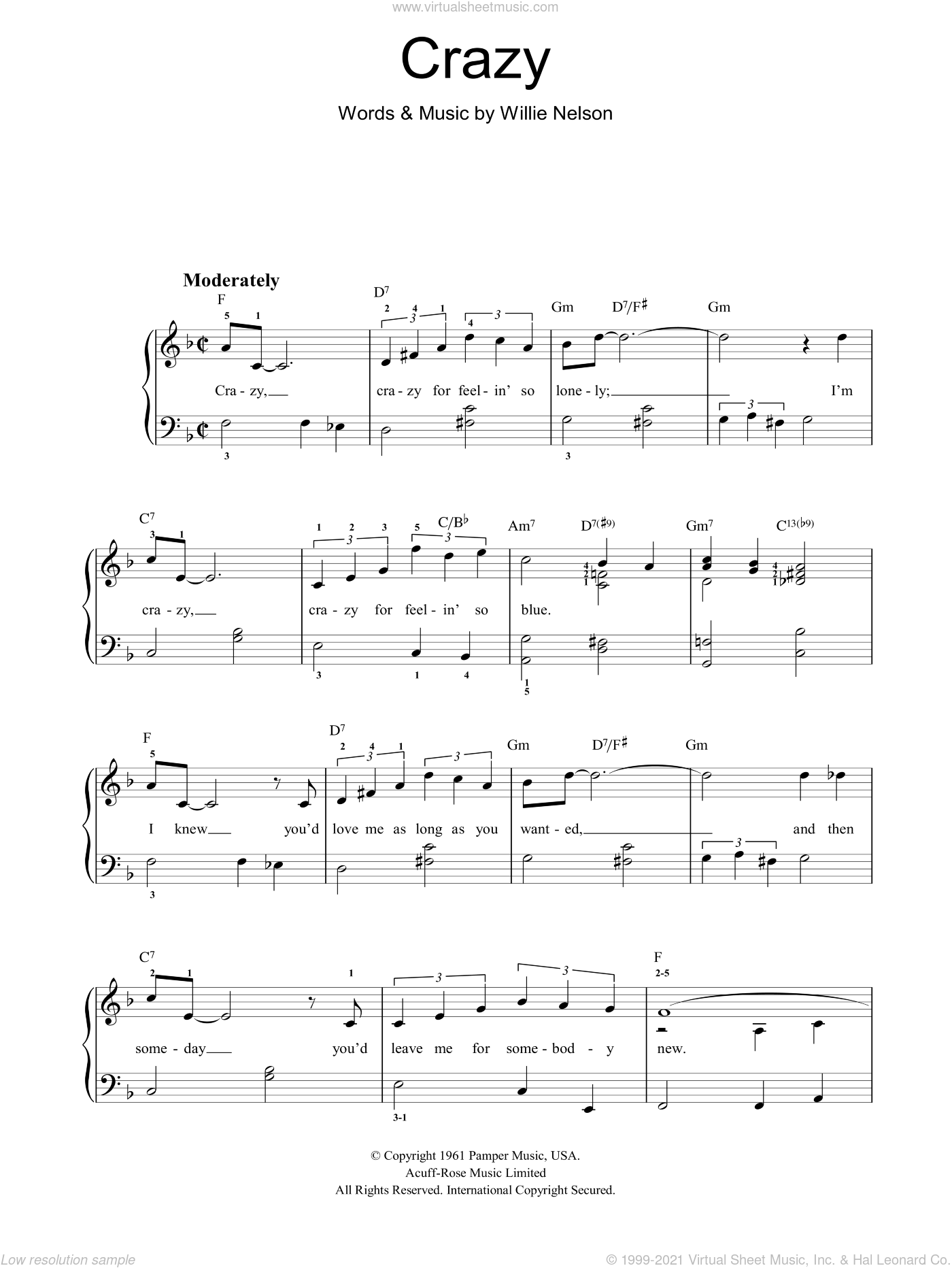 Crazy sheet music for piano solo by Willie Nelson, easy skill level