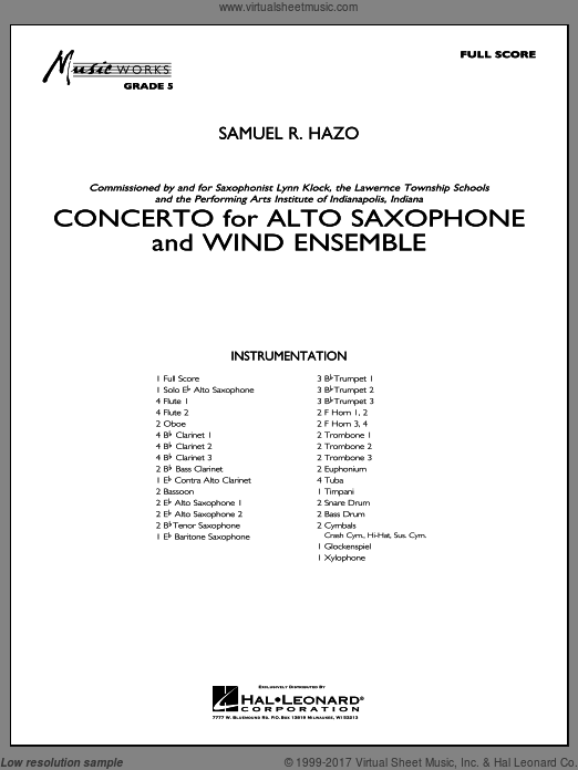Concerto For Alto Saxophone And Wind Ensemble (COMPLETE) sheet music for concert band by Samuel R. Hazo