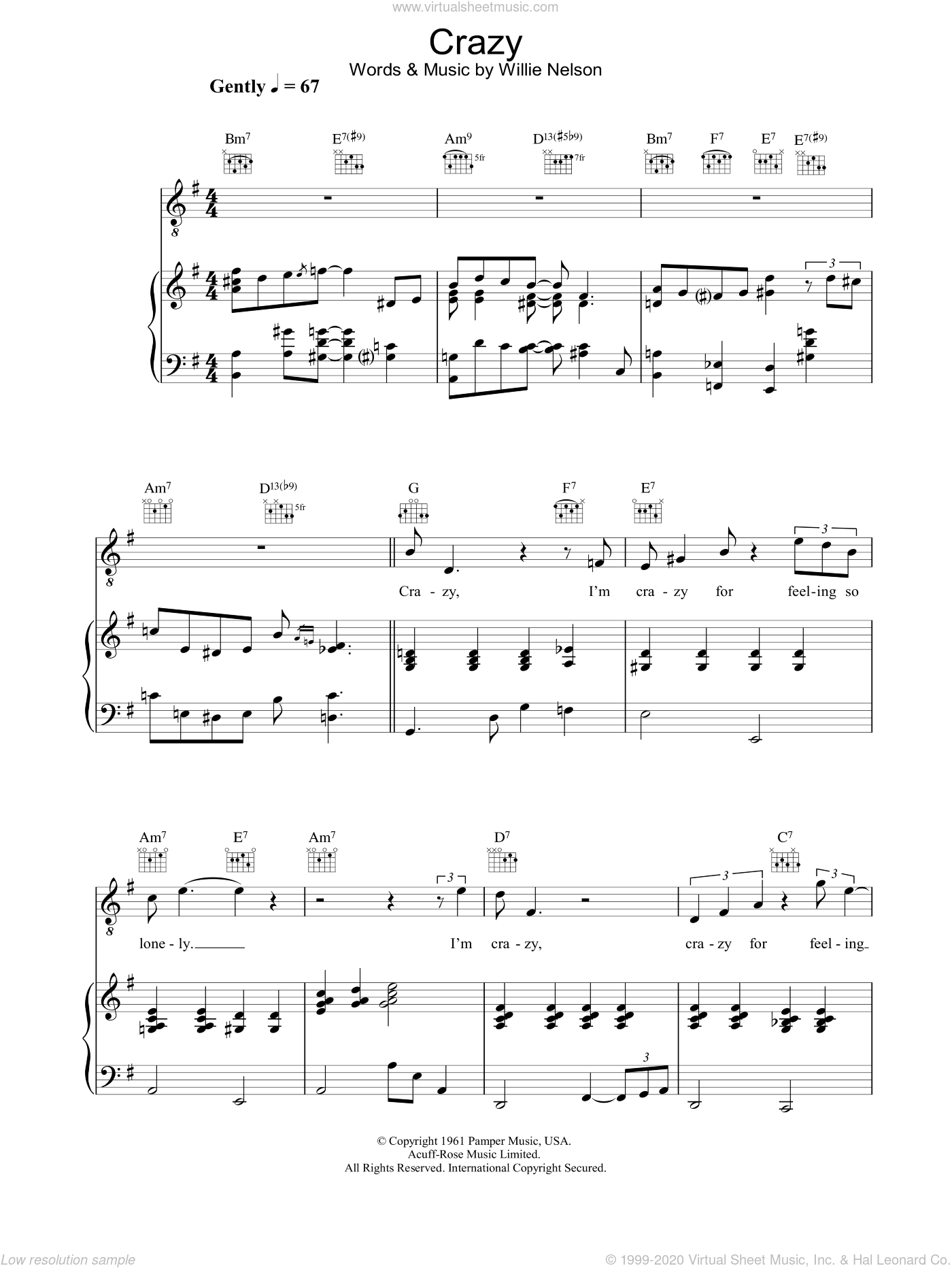 Crazy sheet music for voice, piano or guitar by Diana Krall, Patsy Cline and Willie Nelson. Score Image Preview.