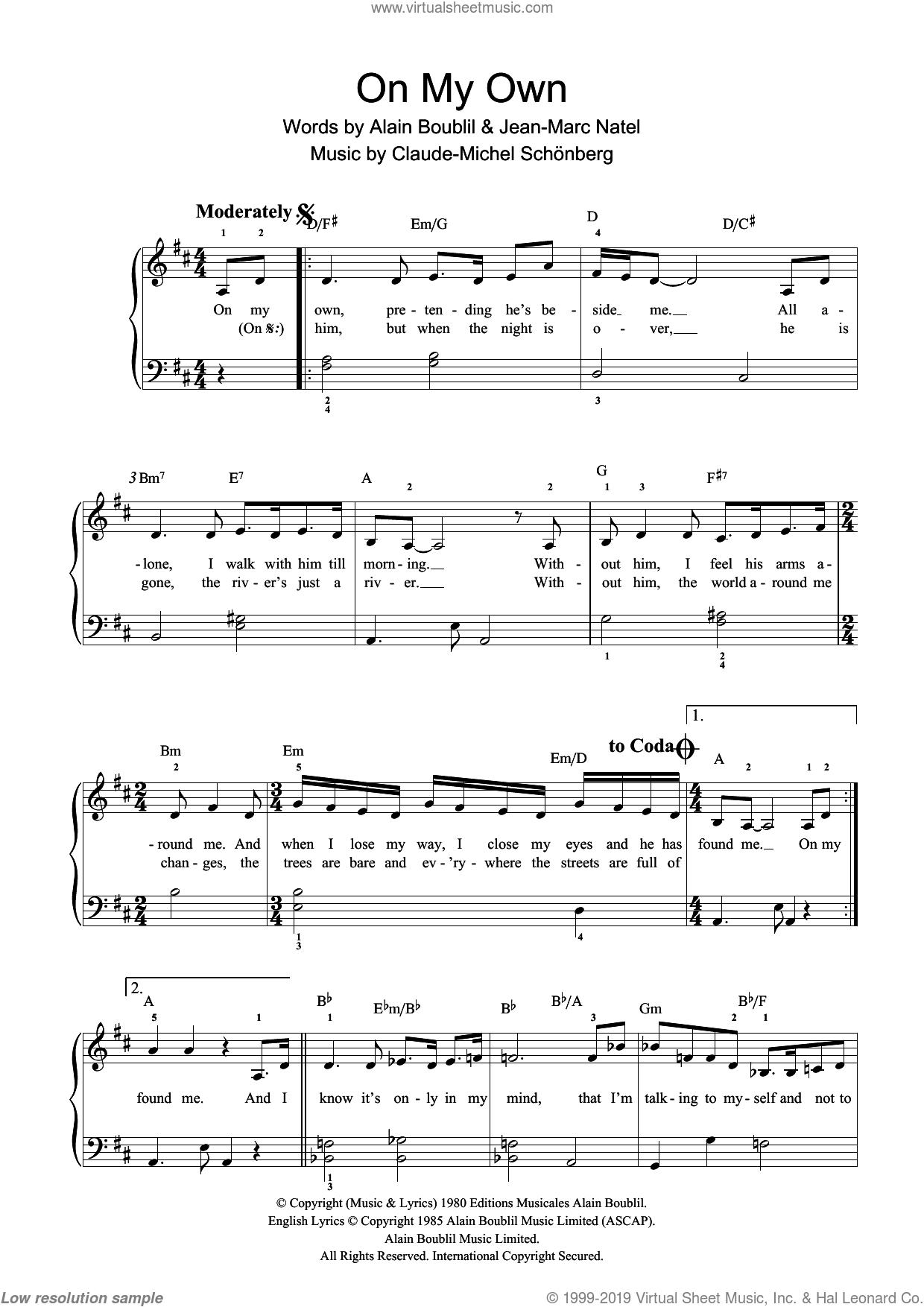 On My Own (from Les Miserables) sheet music for piano solo (beginners) by Alain Boublil, Claude-Michel Schonberg, Herbert Kretzmer, Jean-Marc Natel, John Caird and Trevor Nunn, beginner piano (beginners)