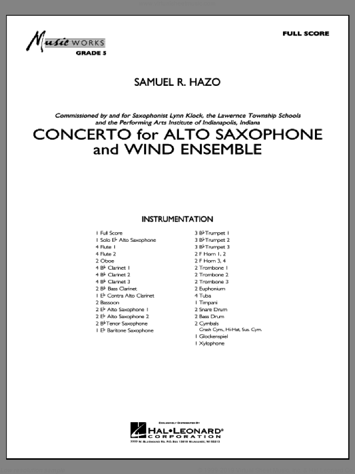 Concerto For Alto Saxophone And Wind Ensemble (COMPLETE) sheet music for concert band by Samuel R. Hazo, intermediate skill level