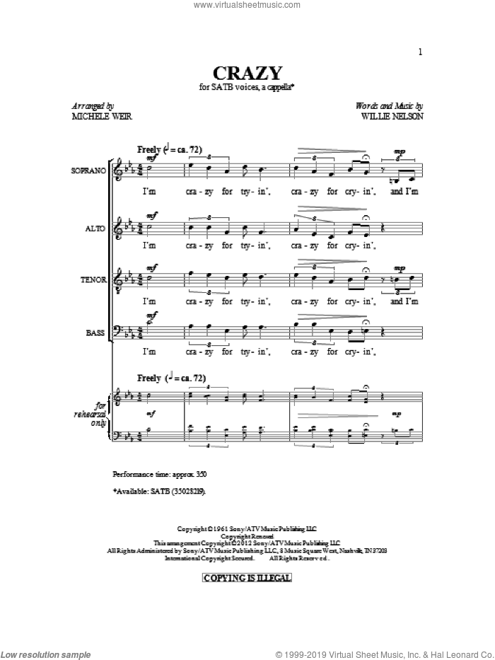 Crazy sheet music for choir (SATB: soprano, alto, tenor, bass) by Patsy Cline and Michelle Weir, intermediate skill level