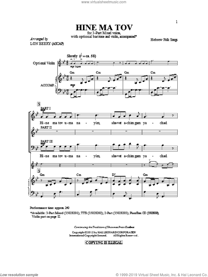 Hineh Ma Tov sheet music for choir and piano (chamber ensemble) by Israeli Folk Song