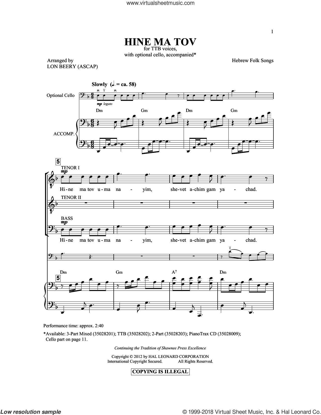 Hineh Ma Tov sheet music for choir (TTBB: tenor, bass) by Lon Beery and Israeli Folk Song, intermediate skill level