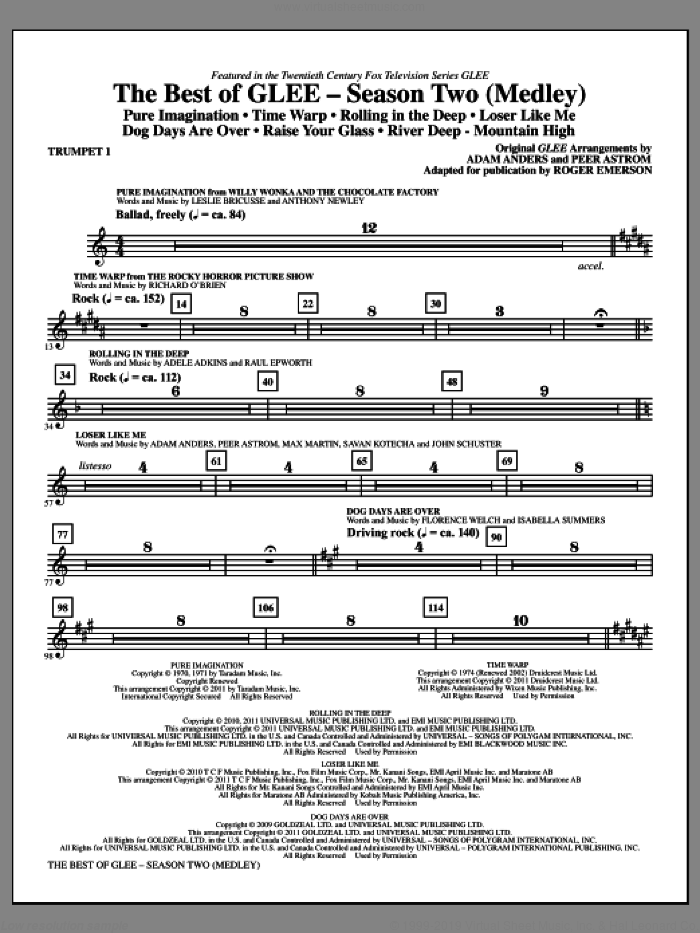 The Best Of Glee (Season Two Medley) (complete set of parts) sheet music for orchestra/band by Max Martin, Adam Anders, Glee Cast, Johan Schuster, Peer Astrom, Roger Emerson and Savan Kotecha, intermediate skill level