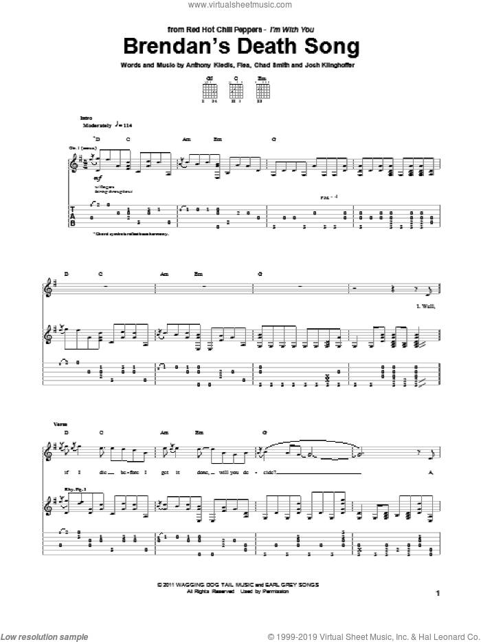 Brendan's Death Song sheet music for guitar (tablature) by Red Hot Chili Peppers. Score Image Preview.